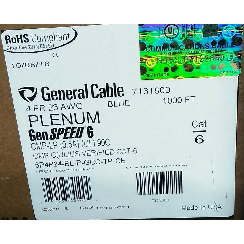 General Cable GenSPEED 6 Cat 6 Plenum Cable Blue