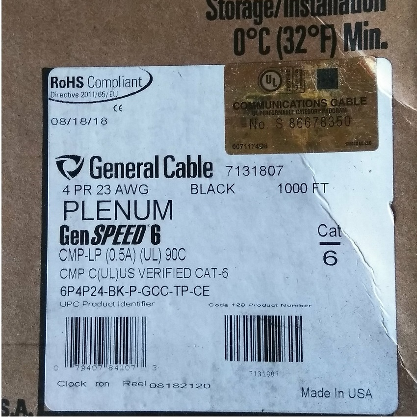 General Cable GenSPEED 6 Cat 6 Plenum Cable Black